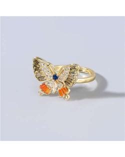 Super Shining Rhinestone Embellished Gorgeous Butterfly High Fashion Women Wholesale Costume Ring - Gray