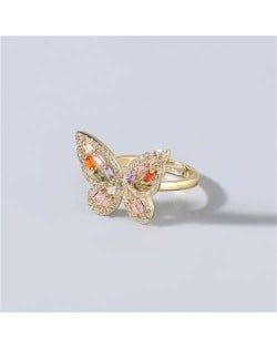 Super Shining Rhinestone Embellished Gorgeous Butterfly High Fashion Women Wholesale Costume Ring - Multicolor
