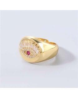 U.S. Delicate Fashion Rhinestone Inlaid Eye Popular Womon Open-end Wholesale Costume Ring - Red