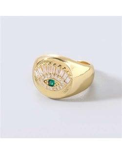 U.S. Delicate Fashion Rhinestone Inlaid Eye Popular Womon Open-end Wholesale Costume Ring - Green