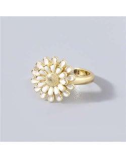 Adorable Sweet Flower Korean Fashion Women Oil-spot Glazed Wholesale Open-end Ring - White