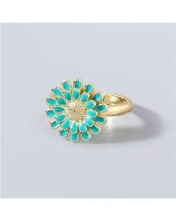 Adorable Sweet Flower Korean Fashion Women Oil-spot Glazed Wholesale Open-end Ring - Green