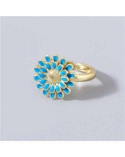 Adorable Sweet Flower Korean Fashion Women Oil-spot Glazed Wholesale Open-end Ring - Blue