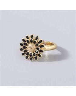 Adorable Sweet Flower Korean Fashion Women Oil-spot Glazed Wholesale Open-end Ring - Black