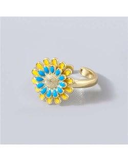 Adorable Sweet Flower Korean Fashion Women Oil-spot Glazed Wholesale Open-end Ring - Blue and Yellow