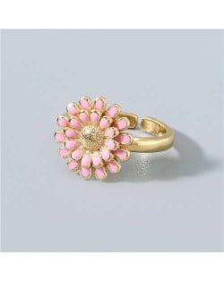 Adorable Sweet Flower Korean Fashion Women Oil-spot Glazed Wholesale Open-end Ring - Pink