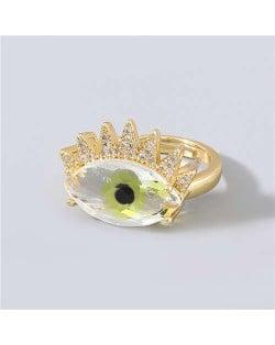 Creative Rhinestone Inlaid Big Eye Party Fashion Women Wholesale Costume Ring - Yellow
