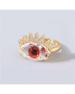 Creative Rhinestone Inlaid Big Eye Party Fashion Women Wholesale Costume Ring - Red