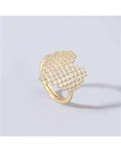 Heart Shape Shining Rhinestone Inlaid Korean Bling Fashion Women Costume Ring - White
