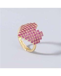 Heart Shape Shining Rhinestone Inlaid Korean Bling Fashion Women Costume Ring - Red