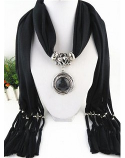 Vintage Round Man-made Gem Pendant Tassels Style Scarf Necklace - Rose