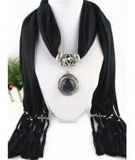 Vintage Round Man-made Gem Pendant Tassels Style Scarf Necklace - Black