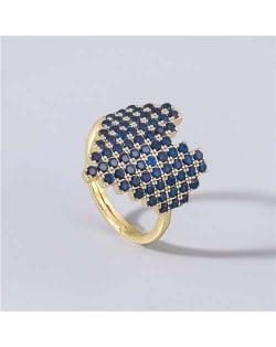 Heart Shape Shining Rhinestone Inlaid Korean Bling Fashion Women Costume Ring - Blue