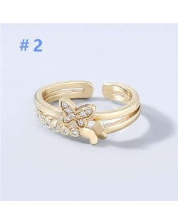 Korean Style Dual Layers Butterfly Rhinestone Inlaid Classic Design Women Open-end Wholesale Ring