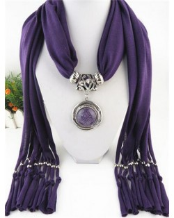 Vintage Round Man-made Gem Pendant Tassels Style Scarf Necklace - Purple