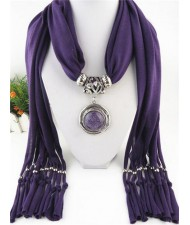 Vintage Round Man-made Gem Pendant Tassels Style Scarf Necklace - Purple