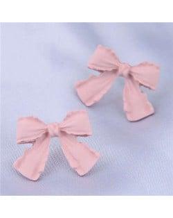 Wholesale Jewelry Korean Fashion Sweet Bow-knot Office Lady Earrings - Pink