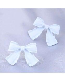 Wholesale Jewelry Korean Fashion Sweet Bow-knot Office Lady Earrings - White
