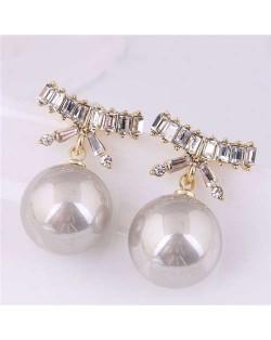 Korean Fashion Wholesale Jewelry Elegant Bow-knot with Pearl Pendant Rhinestone Earrings - Gray