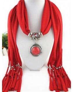 Vintage Round Man-made Gem Pendant Tassels Style Scarf Necklace - Fuchsia
