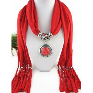 Vintage Round Man-made Gem Pendant Tassels Style Scarf Necklace - Red