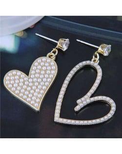 Mini Pearls Decorated Heart Shape Asymmetric Design Wholesale Jewelry Elegant Korean Fashion Earrings