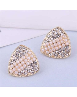 Bling Rhinestone Paved Abstract Triangle Geometric Shape Wholesale Korean Fashion Earrings