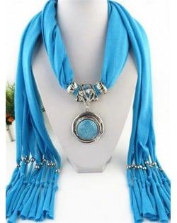 Vintage Round Man-made Gem Pendant Tassels Style Scarf Necklace - Blue
