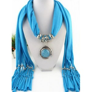Vintage Round Man-made Gem Pendant Tassels Style Scarf Necklace - Blue