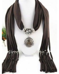 Vintage Round Man-made Gem Pendant Tassels Style Scarf Necklace - Brown