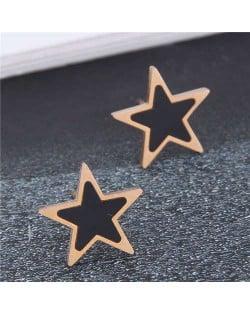 Korean Fashion Mini Five-pointed Star Minimalist Wholesale Earrings - Black