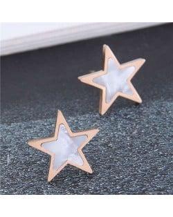 Korean Fashion Mini Five-pointed Star Minimalist Wholesale Earrings - White