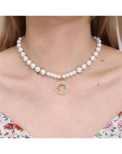 Fashion Jewelry Wholesale Golden Beads Decorated Hoop Pendant Elegant Pearl Necklace