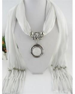 Vintage Round Man-made Gem Pendant Tassels Style Scarf Necklace - White