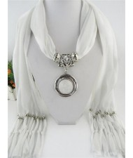 Vintage Round Man-made Gem Pendant Tassels Style Scarf Necklace - White