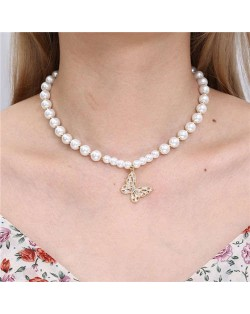 Fashion Jewelry Wholesale Golden Beads Decorated Butterfly Pendant Graceful Pearl Necklace