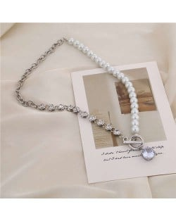 Alloy Chain and Pearl Combo Wholesale Jewelry Shining Rhinestone Pendant Bling Necklace - Silver