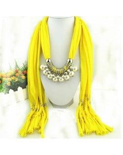 Elegant Artificial Pearls Tassels Fashion Scarf Necklace - Dark Gray