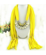 Elegant Artificial Pearls Tassels Fashion Scarf Necklace - Yellow