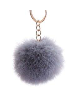 Minimalist Design Popular Style Sweet Fluffy Ball Bag Decoration Key Ring - Gray