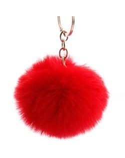 Minimalist Design Popular Style Sweet Fluffy Ball Bag Decoration Key Ring - Red