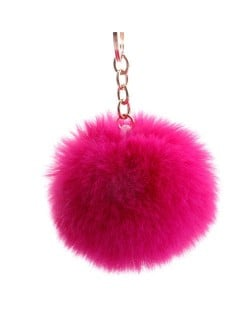 Minimalist Design Popular Style Sweet Fluffy Ball Bag Decoration Key Ring - Fuchsia