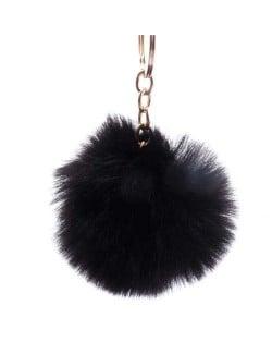 Minimalist Design Popular Style Sweet Fluffy Ball Bag Decoration Key Ring - Black