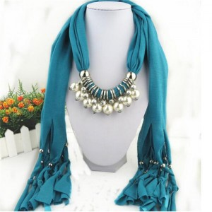 Elegant Artificial Pearls Tassels Fashion Scarf Necklace - Turquoise
