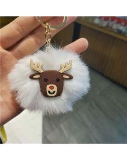 U.S. High Fashion Christmas Series Lovely White Fluffy Ball Design Key Chain - Elk