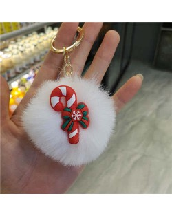 U.S. High Fashion Christmas Series Lovely White Fluffy Ball Design Key Chain - Umbrella Handle