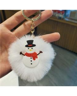 U.S. High Fashion Christmas Series Lovely White Fluffy Ball Design Key Chain - Snowman