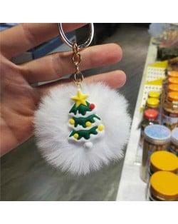 U.S. High Fashion Christmas Series Lovely White Fluffy Ball Design Key Chain - Christmas Tree