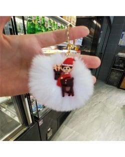 U.S. High Fashion Christmas Series Lovely White Fluffy Ball Design Key Chain - Christmas Kid