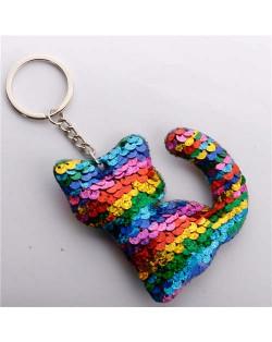 Unique Design Shining Sequins Cute Cat Modeling Wholesale Key Ring - Multicolor